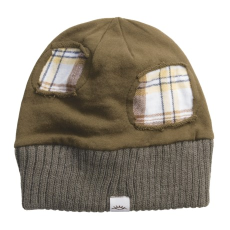 Cov-Ver Plaid Patch Beanie Hat (For Men and Women)