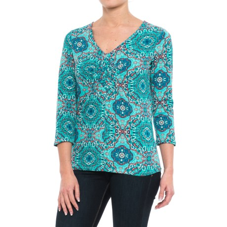 Caribbean Joe Medallionare V-Neck Shirt - 3/4 Sleeve (For Women)
