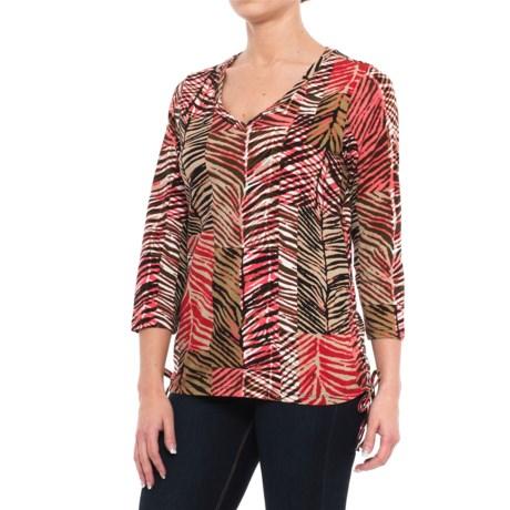 Caribbean Joe Palm Patch Side-Cinch Shirt - 3/4 Sleeve (For Women)