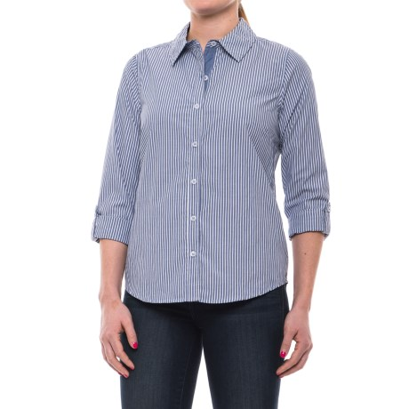 Caribbean Joe Jenna Stripe Shirt - Cotton, Roll-Up Long Sleeve (For Women)