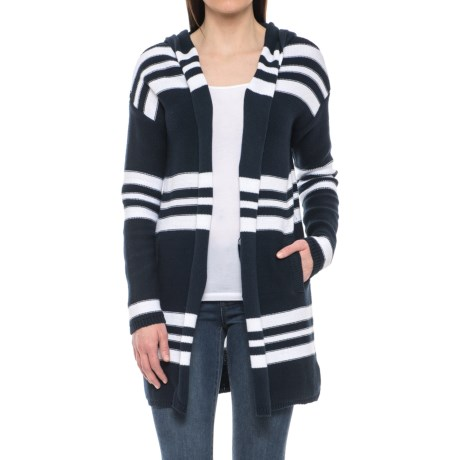 Tahari Repeat Stripe Cotton Cardigan Sweater - Hooded (For Women)