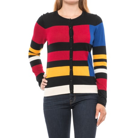 August Silk Color-Block Cardigan Sweater (For Women)