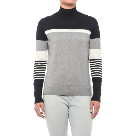 August Silk Striped Turtleneck Sweater - Cotton-Modal (For Women)
