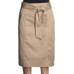 Atelier Luxe Cotton Sateen Skirt - Belted (For Women)