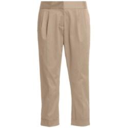 Atelier Luxe Cotton Sateen Capri Pants - Pleated, Cuffed (For Women)