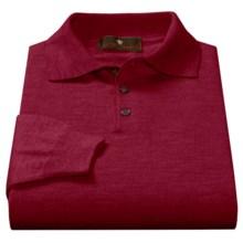 Toscano Polo Sweater - Italian Merino Wool (For Men) in Port - Closeouts