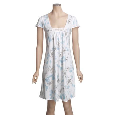 Diamond Tea Jersey Knit Print Gown - Guipupre Lace, Short Sleeve (For Women)
