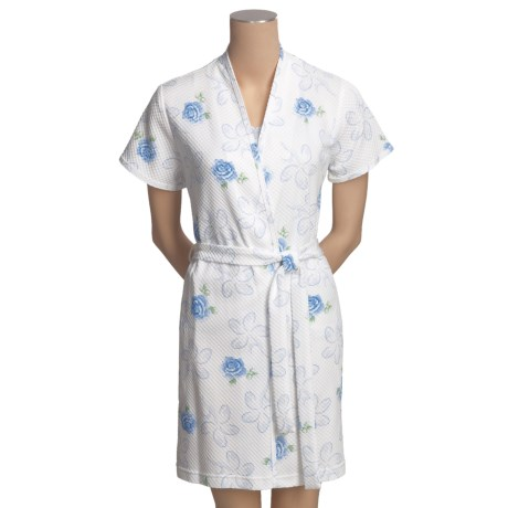 Diamond Tea Waffle Knit Wrap Robe - Short Sleeve (For Women)