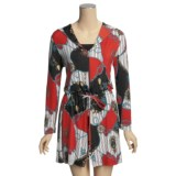 Diamond Tea Nautical Print Robe - Zip Front, Long Sleeve (For Women)