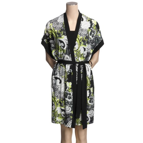 Diamond Tea Paisley Print Wrap Robe - Short, Stretch Fabric (For Women)