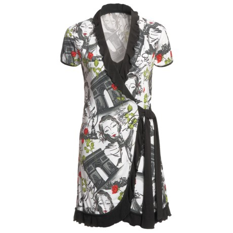 Diamond Tea Paris Landscape Wrap Robe - Ruffles, Short Sleeve (For Women)