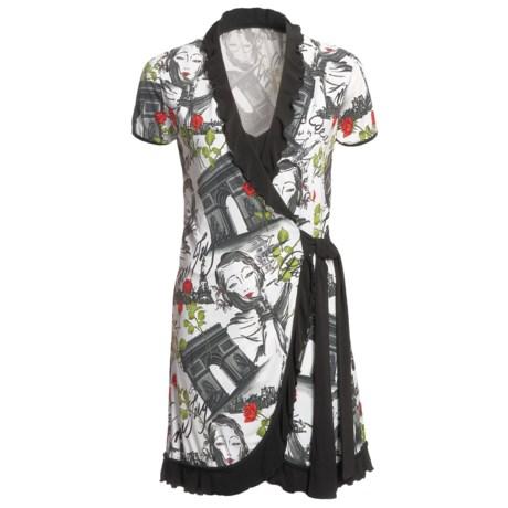 Diamond Tea Paris Landscape Wrap Robe - Ruffles, Short Sleeve (For Women)