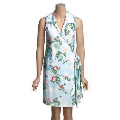 Diamond Tea Cotton Terry Wrap Robe - Sleeveless, Side Self-Tie, Lightweight (For Women)