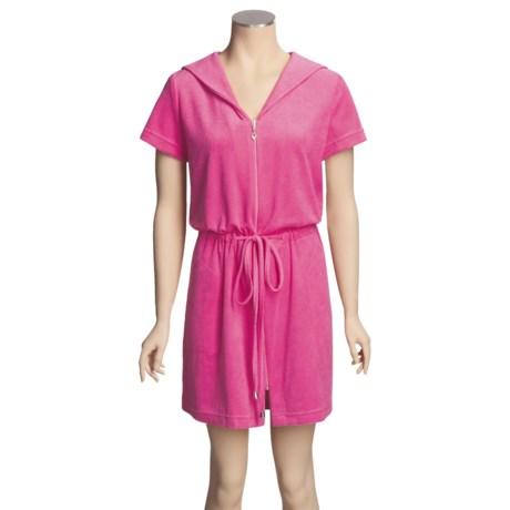 Diamond Tea Cotton Terry Zip Robe - Lightweight, Short Sleeve (For Women)