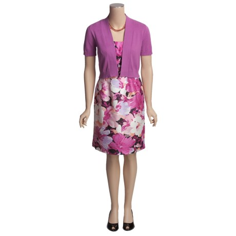 R & K Orchid Print Sleeveless Dress with Short Sleeve Bolero Sweater (For Women)