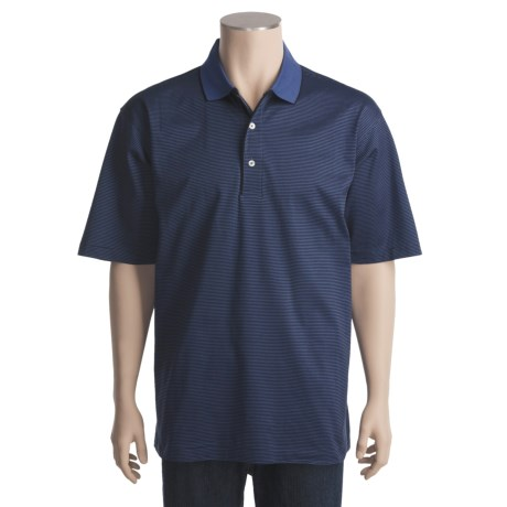 Outer Banks Microstripe Jersey Polo Shirt - Double Mercerized Cotton, Short Sleeve (For Men)