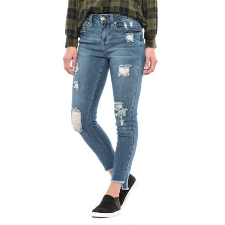 Seven7 Distressed Skinny Ankle Jeans - Step Hem (For Women)
