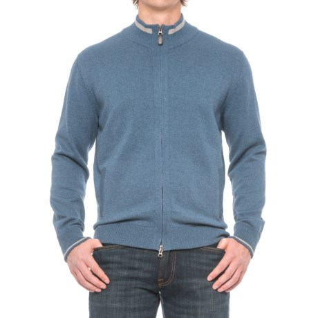 Specially made Pima Cotton Contrast Trim Sweater - Full Zip (For Men)