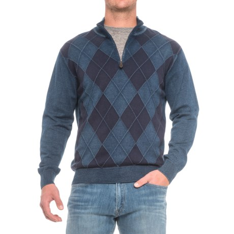 Specially made Pima Cotton Argyle Sweater - Zip Neck (For Men)