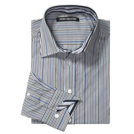 Report Collection Multi-Color Stripe Sport Shirt - Cotton, Long Sleeve (For Men)