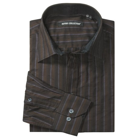 Report Collection Stripe Sport Shirt - Cotton, Long Sleeve (For Men)