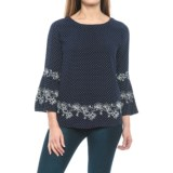 Max Jeans Embroidered Shirt - 3/4 Bell Sleeve (For Women)