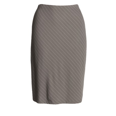 Knee-Length Diagonal Stripe Skirt - Stretch Jersey (For Women)