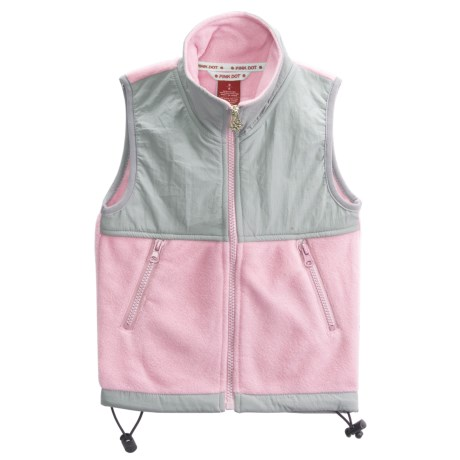 Pink Dot 280gsm Vest - Fleece, Nylon Contrast (For Little Girls)