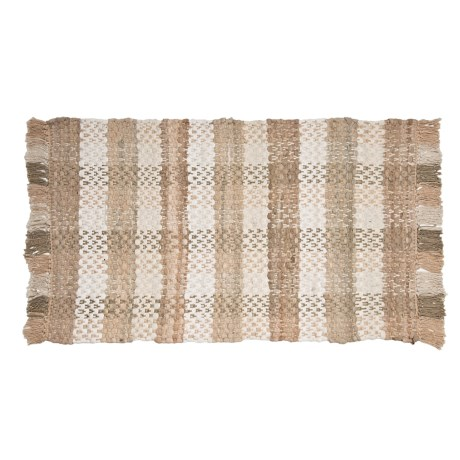 "Kaleen Chindi Block Rug - 20x30"", Cotton, Rectangular"