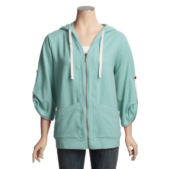 Stretch French Terry Hoodie Sweatshirt (For Women)