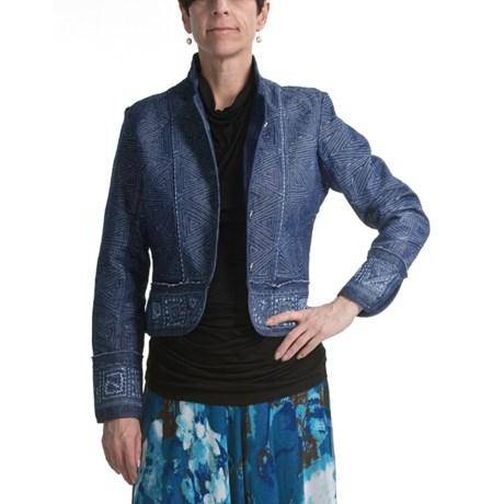 Casual Studio Embroidered Denim Jacket - Mandarin Collar (For Women)