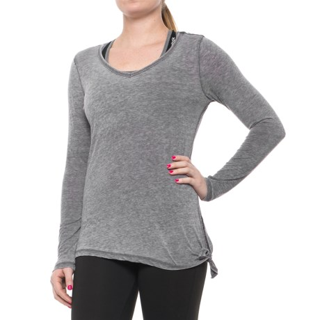 Harmony and Balance Burnwash Jersey Tie-Side T-Shirt - Long Sleeve (For Women)