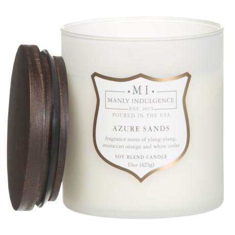 Manly Indulgence Azure Sands Soy-Blend Candle - Wood Wick, 15 oz.