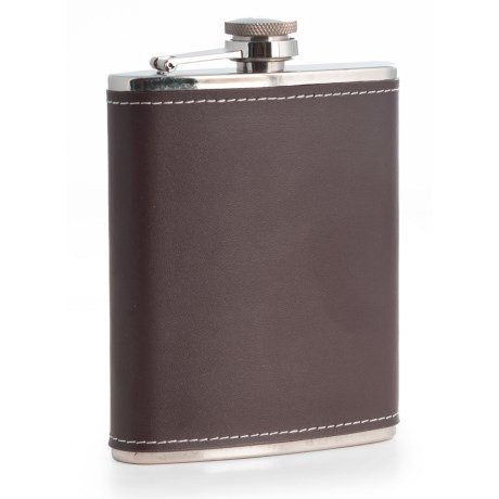 Bey-Berk International Leather-Wrapped Stainless Steel Flask - 6 fl.oz.