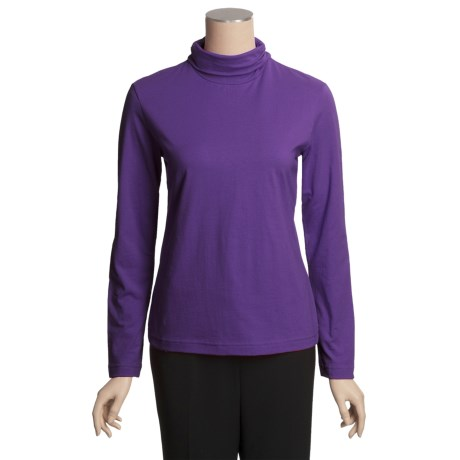 Neon Buddha Turtleneck - Stretch Cotton, Ruching Detail, Long Sleeve (For Women)
