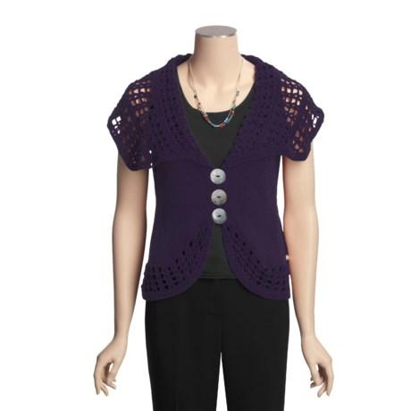 Pure Handknit Single-Knit Vest - Cotton, Oversized Crochet Detail (For Women)