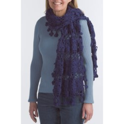Pure Handknit Cotton Milan Scarf - Oversized Crochet (For Women)