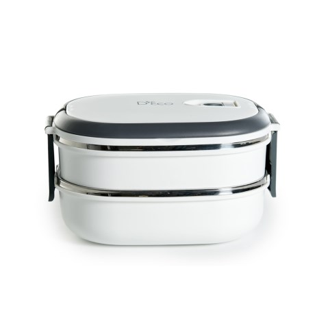 Deco D'Eco Two-Tier Tiffin Stackable Lunch Box - Stainless Steel Interior