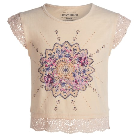 Lucky Brand Sloan Graphic T-Shirt - Lace Trim, Short Sleeve (For Big Girls)