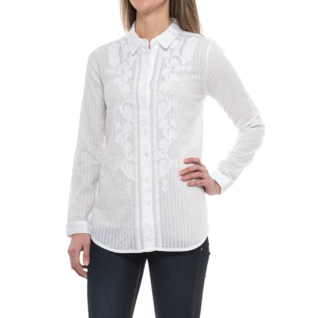 dylan Embroidered Side-Slit Shirt - Long Sleeve (For Women)
