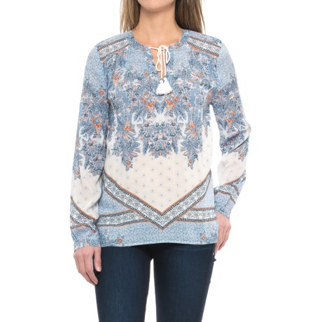dylan Bandana Border Blouse - Long Sleeve (For Women)