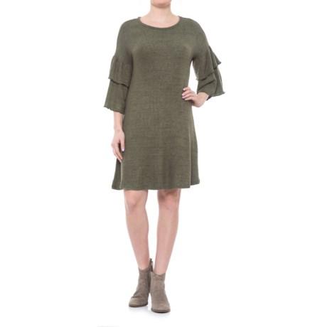 Cupio Blush Dream Ruffled Knit Dress - Elbow Sleeve (For Women)