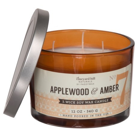 Paddywax Letterpress Applewood and Amber Soy Candle - 3-Wick, 12 oz.