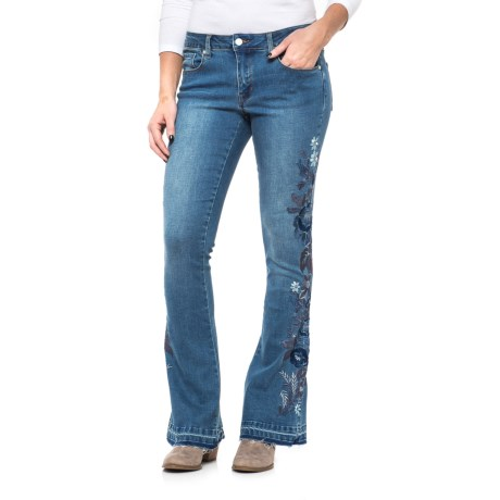 Philosophy Republic Clothing Floral Embroidered Flare Jeans (For Women)