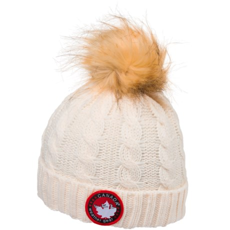 Canada Weather Gear Chunky Cable-Knit Pompom Beanie (For Kids)