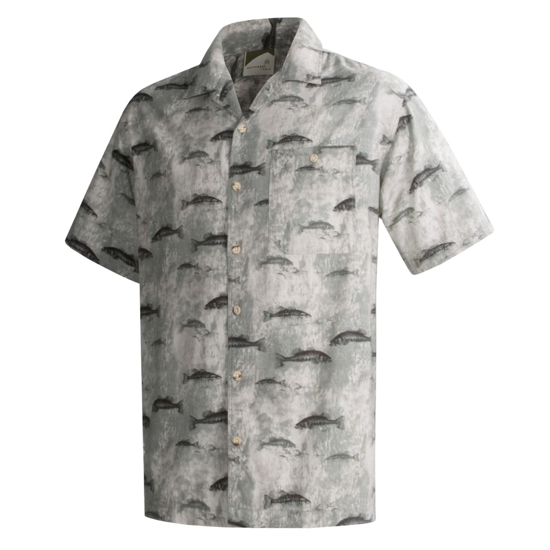 Allegheny trail cotton fish print shirt for men 33650 for Fish print shirt