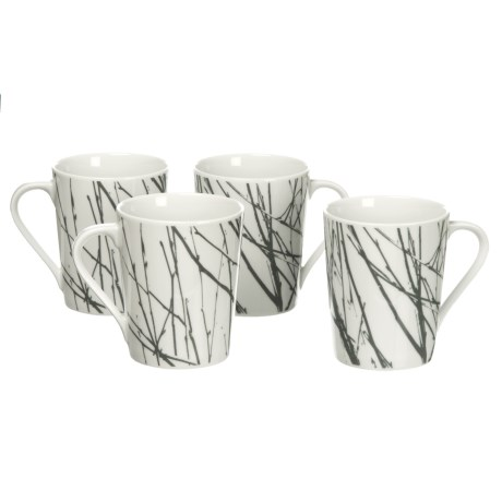 Bambeco Twigg Porcelain Coffee Mugs - Set of 4, 12 oz.