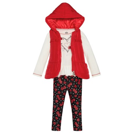 Kids Headquarters Puffer Vest, Shirt and Leggings Set (For Toddler Girls)