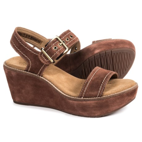 Clarks Aisley Orchid Wedge Sandals - Suede (For Women)