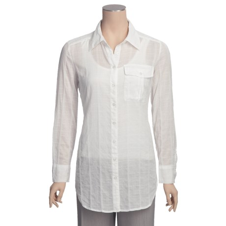 Sheer Self Jacquard Shirt - Long Sleeve (For Women)